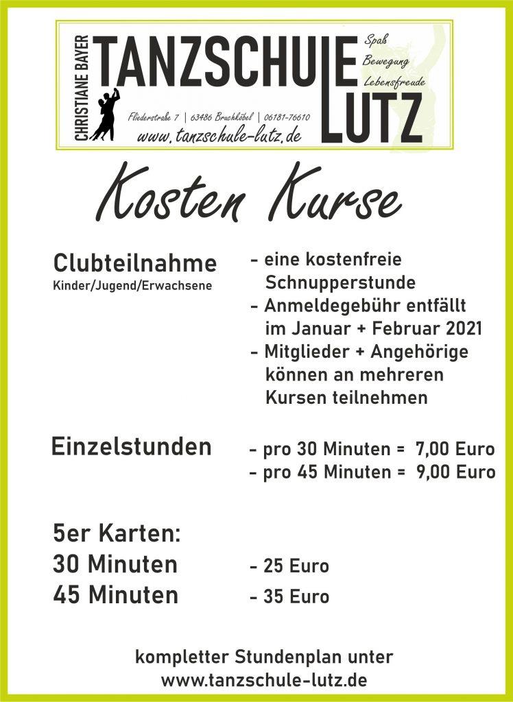 Kosten Kurse ohne Club 1-2021 Online