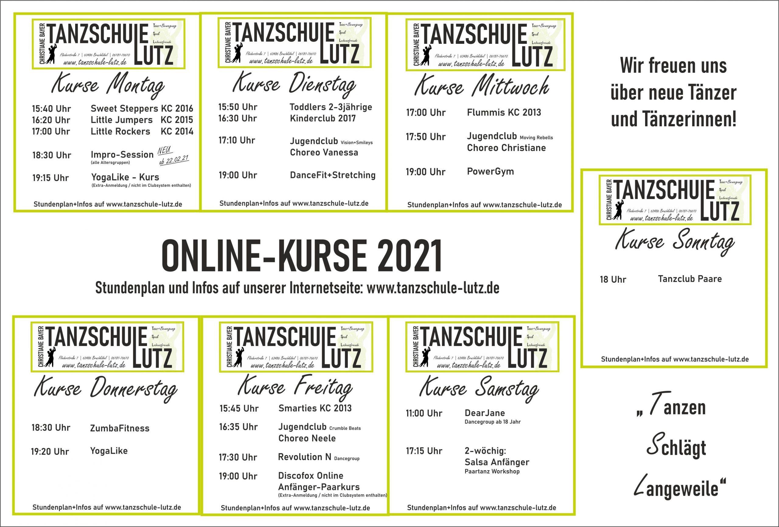 Onlinekurse Wochenansicht 2021