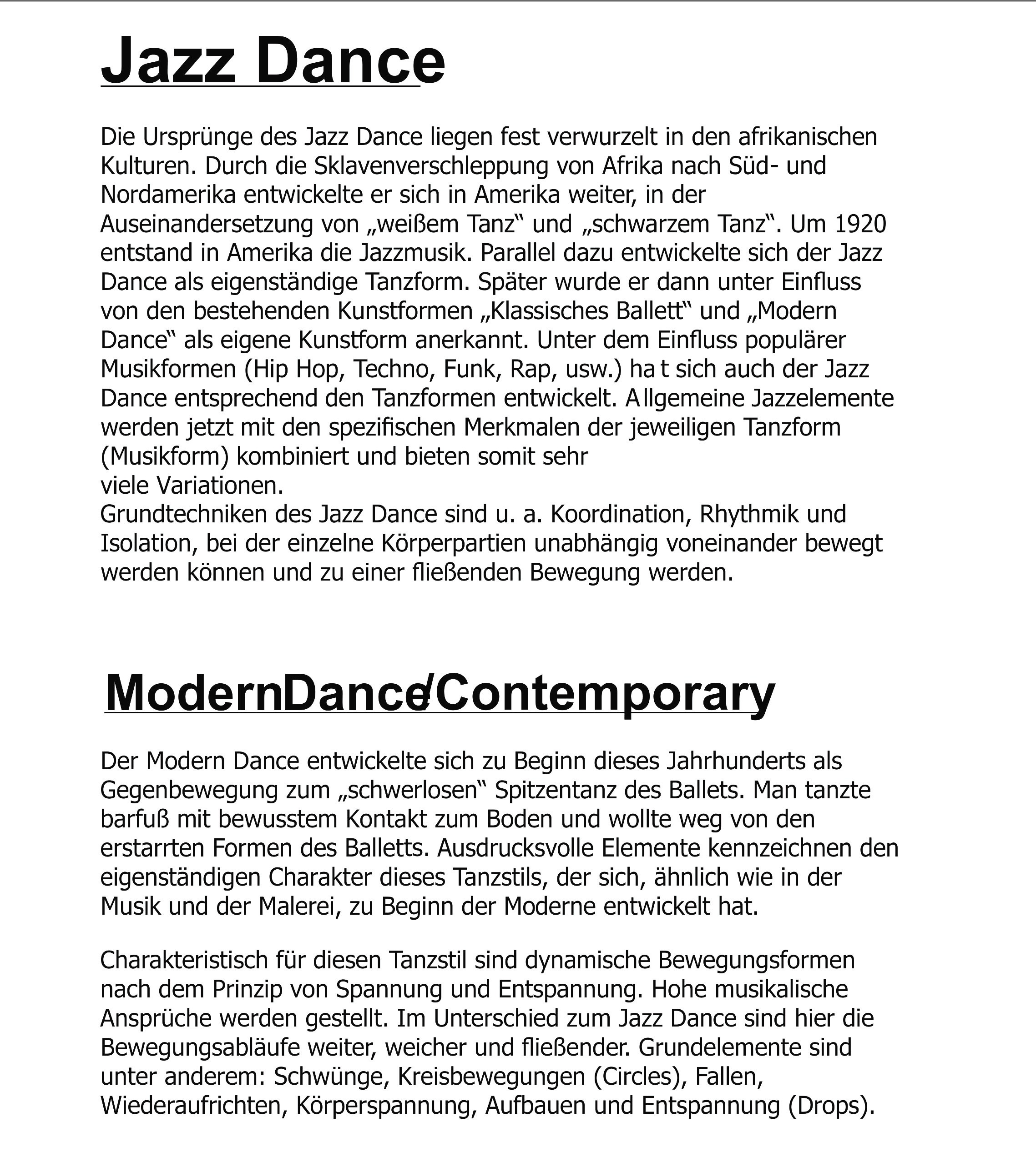 Kursbeschreibung Jazz Dance - Contemporary